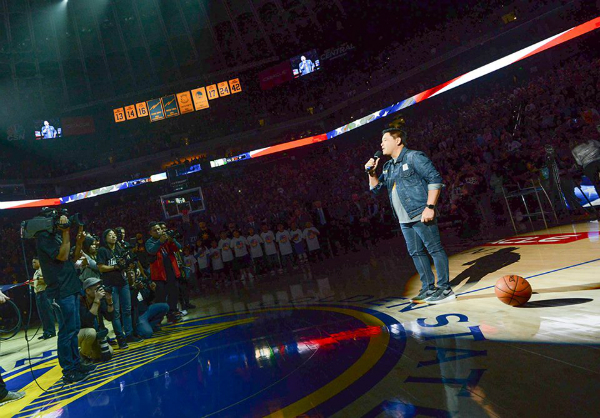Martin Nievera Sings the US Anthem at the Golden State Warriors Game