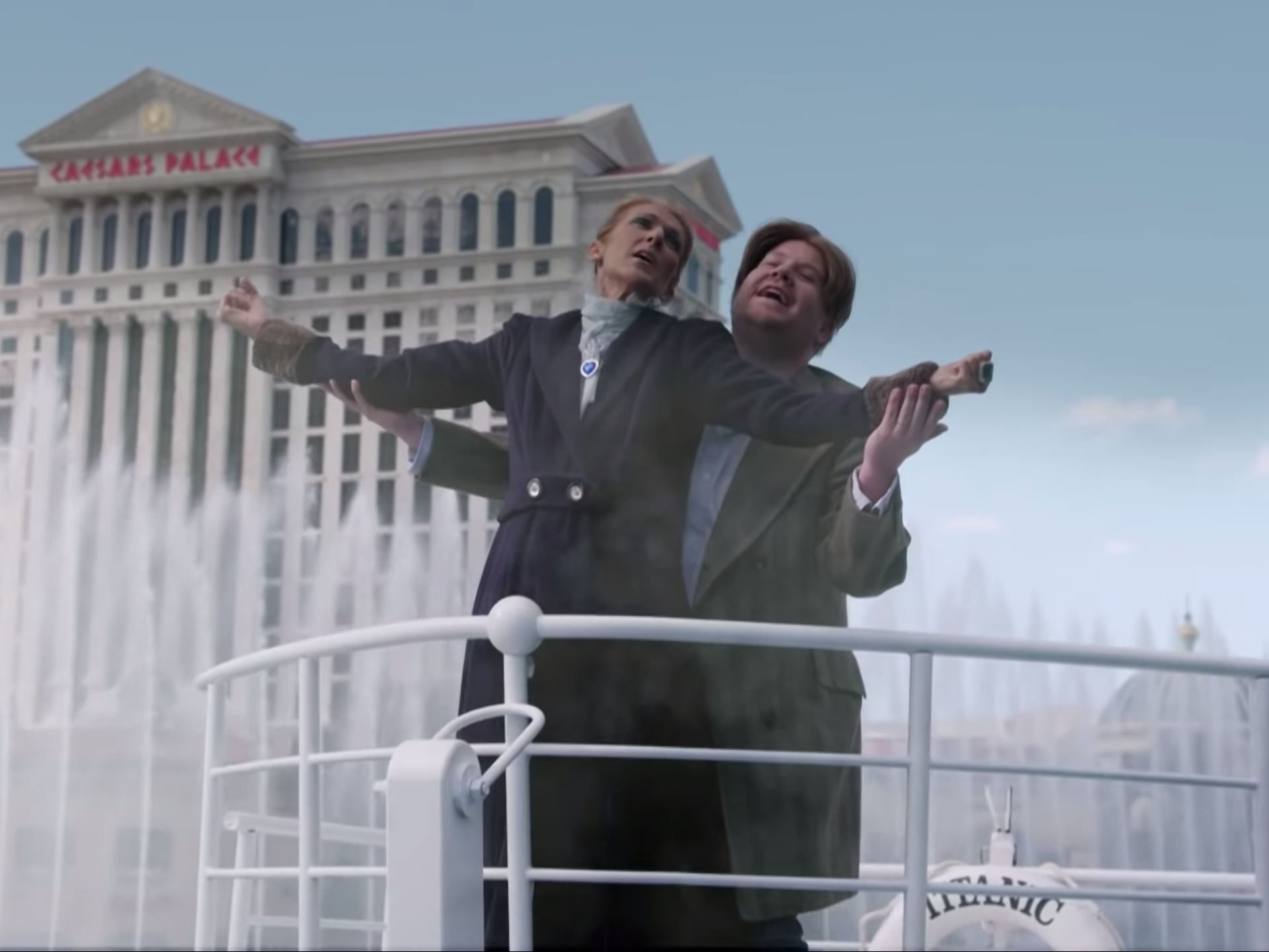 Céline Dion and James Corden recreate THAT iconic scene in Titanic