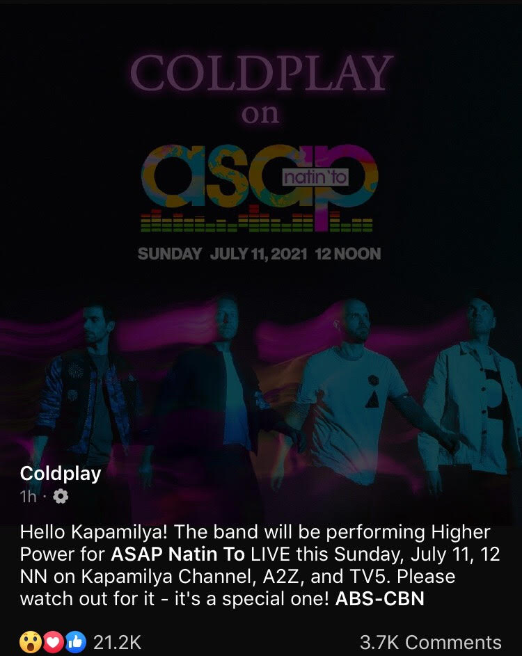 Coldplay to Guest on 'ASAP Natin 'To!'